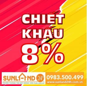 Sunlandmở bán Block B2-129 KĐTNam Hòa Xuân sát sông sáng nay ngày14/01/2019, Chiết khấu 8%