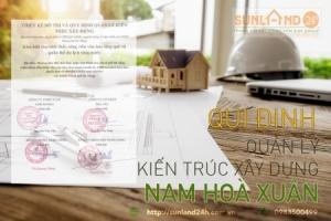 Quy định quản lý kiến trúc xây dựng nhà phố và biệt thự tại khu đô thị Nam Hoà Xuân